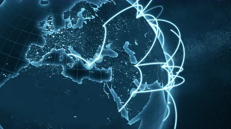 versiyon : 3d animation of a growing network across the world. Close-up. Seamless loop. Abstract global business network concept. New and improved 4K blue version