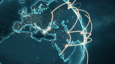 versiyon : 3d animation of a growing network across the world. Seamless loop. Abstract global business network concept. New and improved 4K blue and orange version. Close-up