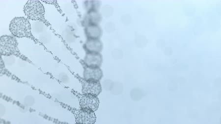 genetic code : Seamless looping 3d animation of a rotating digital plexus DNA chain. Abstract medical science research background. Light blue version. Stock Footage