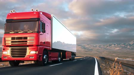 osiemnastka : A semi truck passes the camera driving on a highway into the sunset, low angle front-view camera. Realistic high quality 3d animation.