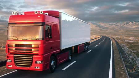 osiemnastka : A semi truck passes the camera driving on a highway into the sunset, camera moves from low angle front-view upwards to high angle view as the truck passes. Realistic high quality 3d animation.