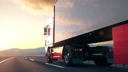 államközi : A semi truck passes the camera driving on a highway into the sunset, low angle rear view camera. Realistic high quality 3d animation.