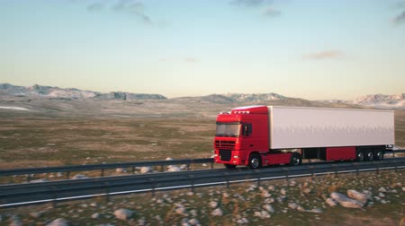 osiemnastka : A semi truck passes the camera driving on a highway into the sunset, side-view camera tracking and panning to follow the truck. Realistic high quality 3d animation.