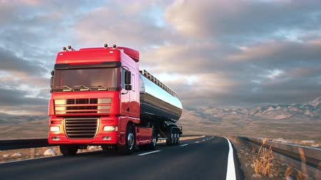 osiemnastka : Front-view camera follows a tank truck driving on a highway into the sunset. Realistic high quality 3d animation.