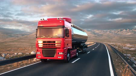 osiemnastka : A tank truck passes the camera driving on a highway into the sunset, camera moves from low angle front-view upwards to high angle view as the truck passes. Realistic high quality 3d animation.