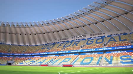 pan shot : Camera pans around empty soccer stadium. Wide angle view. Realistic high quality 3d animation. Stock Footage