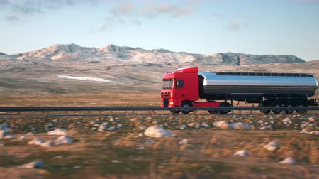 osiemnastka : Side-view camera follows a tank truck driving on a highway into the sunset. Realistic high quality 3d animation.