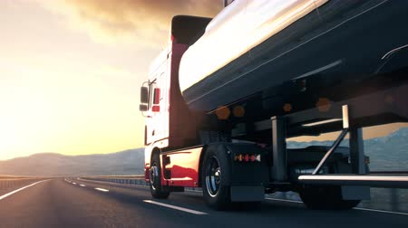 osiemnastka : A tank truck passes the camera driving on a highway into the sunset, low angle rear view camera. Realistic high quality 3d animation.