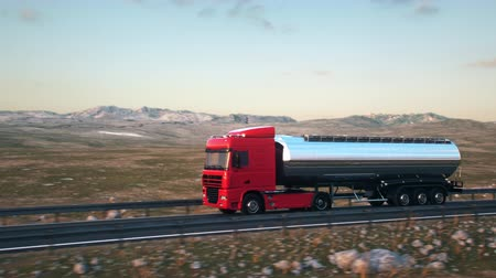 osiemnastka : A tank truck passes the camera driving on a highway into the sunset, side-view camera tracking and panning to follow the truck. Realistic high quality 3d animation.