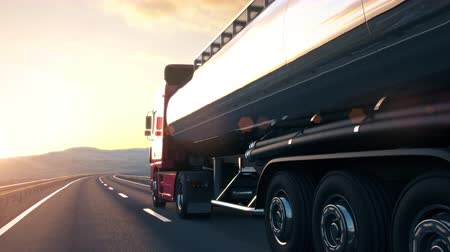 petroleiro : The camera follows a tank truck driving along a desert highway into the sunset. Low angle rear view camera. Realistic high quality 3d animation.