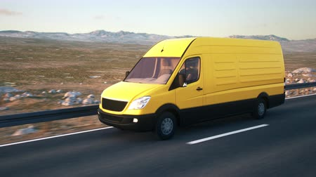 minibus : A yellow delivery van drives along a desert highway into the sunset. Realistic high quality 3d animation.