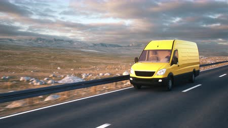 camionagem : Camera follows a yellow delivery van driving along a desert highway into the sunset. Realistic high quality 3d animation.