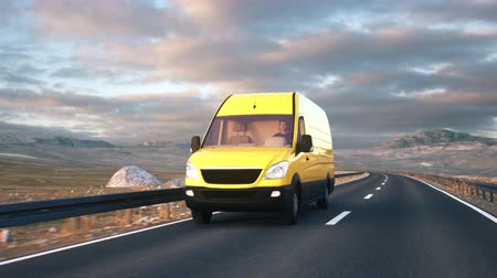minibus : A yellow delivery van passes the camera driving along a desert highway into the sunset. Realistic high quality 3d animation. Stock Footage