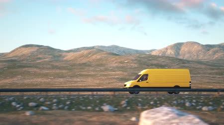 minibus : Side-view camera follows a yellow delivery van driving along a desert highway into the sunset. Realistic high quality 3d animation.