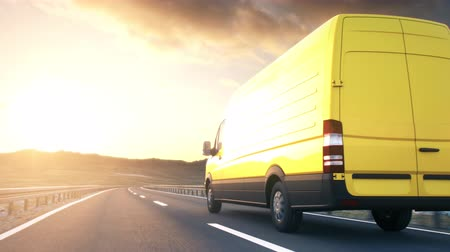 devir : A yellow delivery van passes the camera driving on a highway into the sunset, low angle rear view camera. Realistic high quality 3d animation.