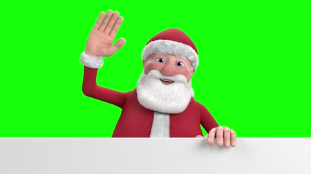 replaceable : A cartoon Santa Claus stands up from behind a white banner at the bottom of the frame and waves into the camera - replaceable green-screen background - high quality 3d animation