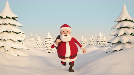 çuval : Looping animation of a cartoon Santa Claus running through a snowy winter landscape. Frontal view. High quality 3d animation