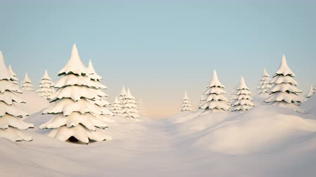 низкий : Seamless looping animation of a camera flight through a cartoony winter landscape with trees and snow and a low sun and blue sky. High quality 3d animation Стоковые видеозаписи