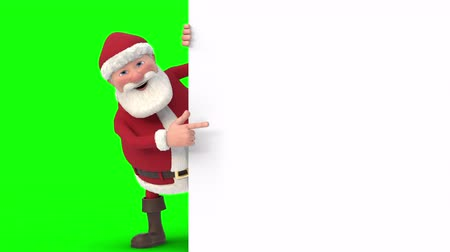 A cartoon Santa Claus peeks out from behind a white sign at the right side of the frame, waves into the camera, looks at the sign and gives thumbs up - seamless looping 3d animation - greenscreen version Dostupné videozáznamy