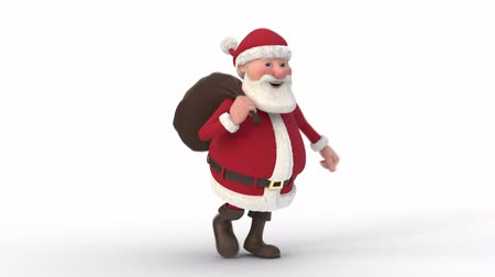 Seamless looping animation of a cartoon Santa Claus running on a white background. Three quarter view.   3d animation