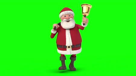 Seamless looping animation of a cartoon Santa Claus walking with gift bag and a bell on a green background. Front view. High quality 3d animation