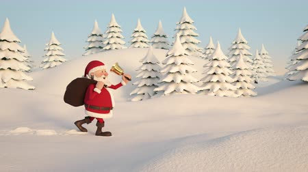 A cartoon Santa Claus is running through a snowy winter landscape from left to right. Side view.
