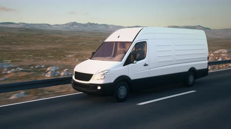 A white delivery van drives along a desert highway into the sunset. Realistic high quality 3d animation. Stock Footage