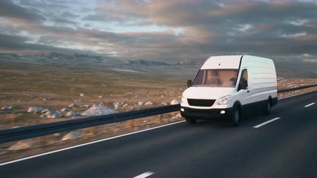 Camera follows a white delivery van driving along a desert highway into the sunset. Realistic high quality 3d animation.