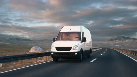 A white delivery van passes the camera driving along a desert highway into the sunset. Realistic high quality 3d animation.