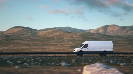 Side-view camera follows a white delivery van driving along a desert highway into the sunset. Realistic high quality 3d animation.