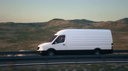 A white delivery van passes the camera driving on a highway into the sunset, side-view camera tracking and panning to follow the van. Realistic high quality 3d animation.