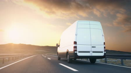 A white delivery van passes the camera driving on a highway into the sunset, low angle rear view camera. Realistic high quality 3d animation.