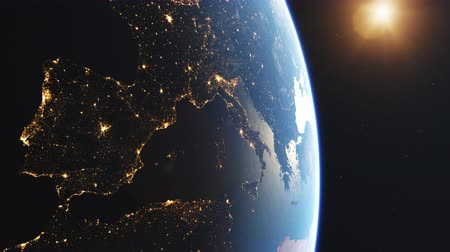 4K Beautiful Sunrise over Europe. Realistic earth with night lights from space. High quality 3d animation.