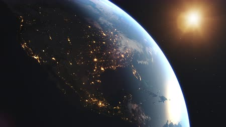 4K Beautiful Sunrise over North America. Realistic earth with night lights from space. High quality 3d animation.