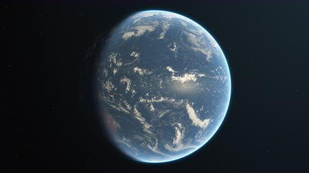4K Slowly rotating realistic earth from space. Day side. Seamless looping. High quality 3d animation. Stock Footage