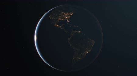 4K Slowly rotating realistic earth from space. Dark side with night lights. Seamless looping. High quality 3d animation.