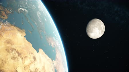4K Realistic earth and moon from space. Day side. High quality 3d animation.