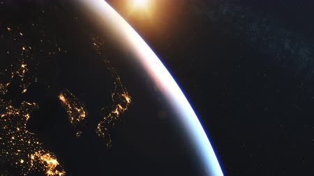 4K Beautiful Sunrise over Japan. Realistic earth with night lights from space. High quality 3d animation. 影像素材