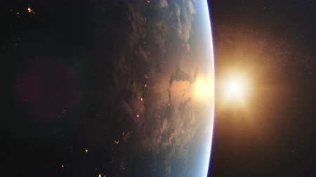 4K Beautiful Sunrise over Earth. Realistic earth with night lights from space. High quality 3d animation. 影像素材