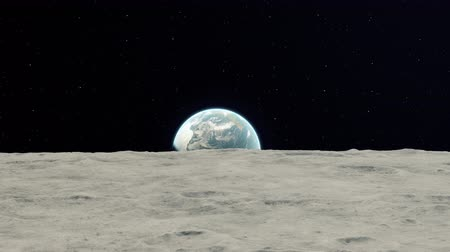 4K Realistic earthrise from moon as seen from a spacecraft orbiting the moon. High quality 3d animation. Stock Footage