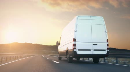 minibus : The camera follows a white delivery van driving on a desert highway into the sunset, low angle rear view. Realistic high quality 3d animation.
