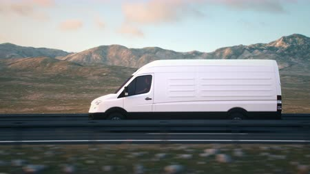 The camera follows a white delivery van driving on a desert highway into the sunset, side view tracking shot. Realistic high quality 3d animation. Stock Footage