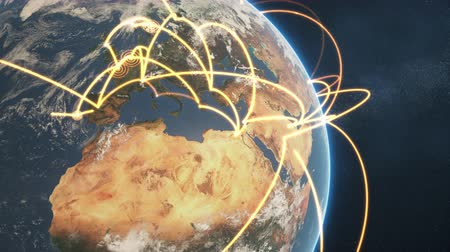 dünya çapında : 3d animation of a growing network across a realistic earth. Seamless loop. Abstract global business network concept. Orange closeup day version. Stok Video