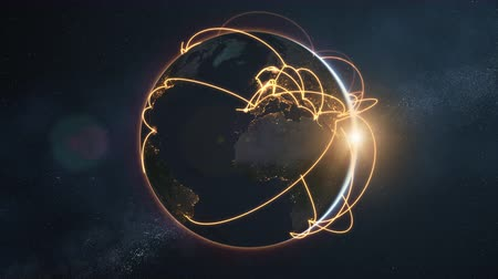 3d animation of a growing network across a realistic earth. Seamless loop. Abstract global business network concept. Orange night version.