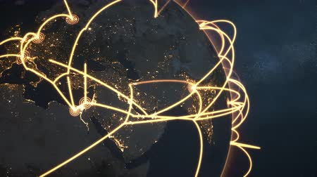 3d animation of a growing network across a realistic earth. Seamless loop. Abstract global business network concept. Orange closeup night version.