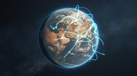 3d animation of a growing network across a realistic earth. Seamless loop. Abstract global business network concept. Blue day version. Stock Footage