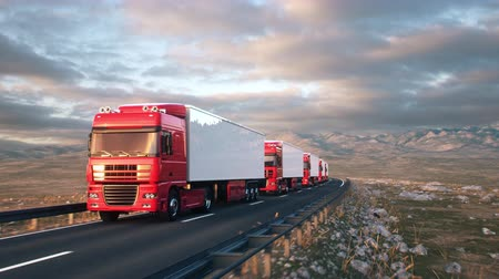 Front-view camera moves towards a convoy of semi trucks driving on a highway into the sunset. Realistic high quality 3d animation. Stock Footage