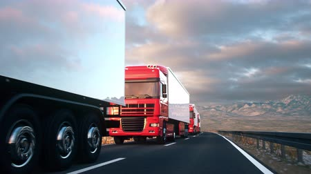 A convoy of semi trucks drives passed the camera on a highway into the sunset. Realistic high quality 3d animation.