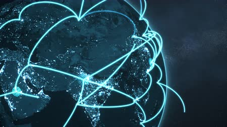 3d animation of a growing network across a realistic earth. Seamless loop. Abstract global business network concept. Blue closeup night version.