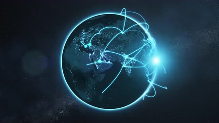 3d animation of a growing network across a realistic earth. Seamless loop. Abstract global business network concept. Blue night version.